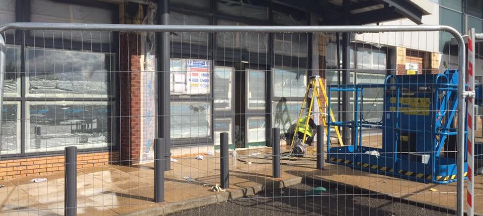 Respray on site shop front